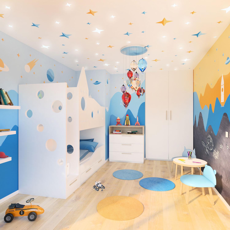 wizualizacja pokoju dla chłopca, pokój kosmonauty