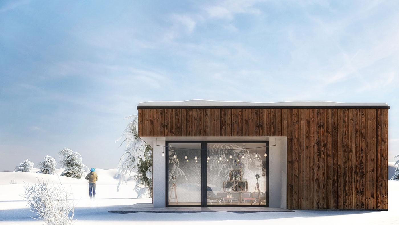 wizualizacja domu zima