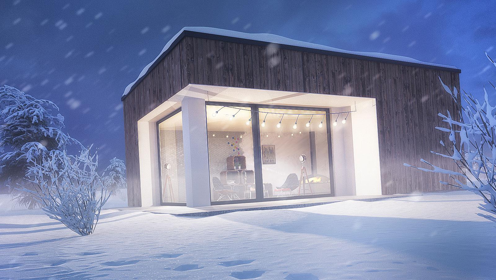 wizualizacja domu zima wieczór